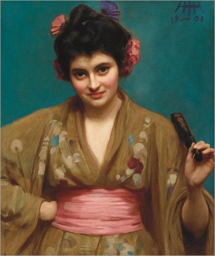 Albert Herter American, 1871-1950 Woman Wearing a Kimono