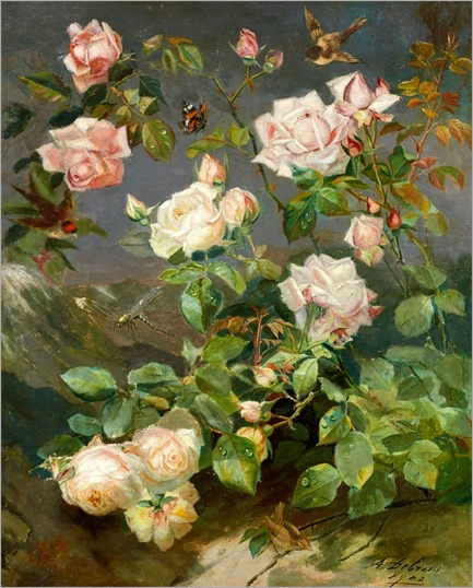 Alexandre Debrus (1843-1905) Roses Redouté. 1902