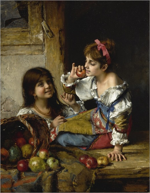 Alexei Alexeevich Harlamoff (1840-1925) Two Girls with Apples and Pears. 1884