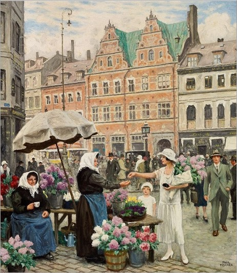 An Elegant Woman Buying Flowers - Paul Gustave Fischer (danish painter)