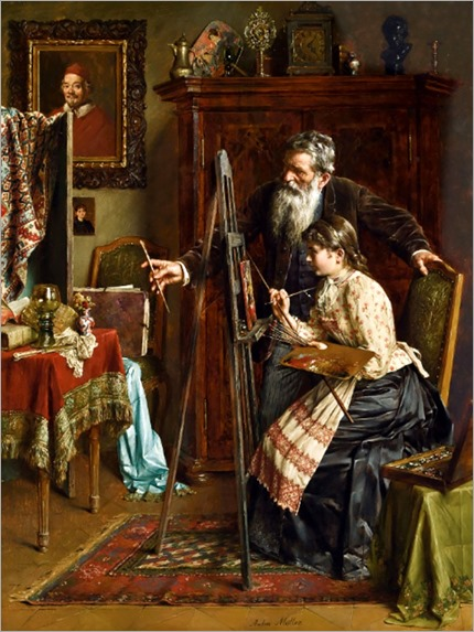 Anton Müller (1853-1897) The painting lesson