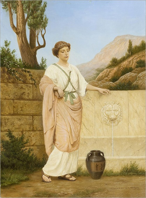 Attributed BAKALOWICZ, STEFAN(Warsaw 1857 - 1947 Rome)Young girl at a well. 1897