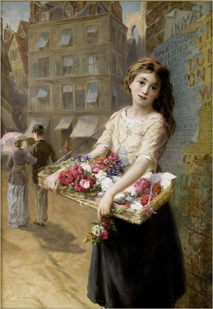 Augustus Edwin Mulready - A Street Flower Seller 1882