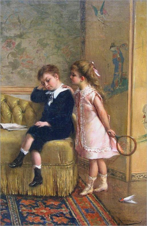 Badminton Afternoon - Albert Rosenboom (belgian academic painter)