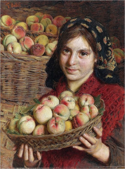 Bellei Gaetano (Modena 1857-1922)- The Peach Harvester