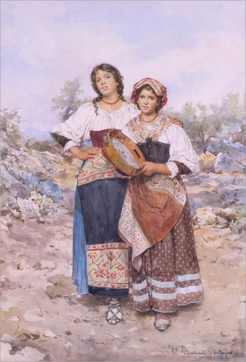 CELIA BOMPIANI - BATTAGLIA (Roma, 1847 - 1927),Dos jóvenes italianas, una portando una pandereta