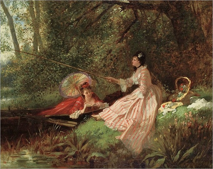 Charles Desire Hue French, 1825-1883 Restful Afternoon