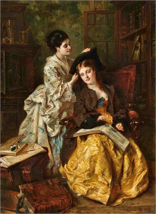 Charles van den Daele, Belgischer Maler des 19. Jahrhunderts ZWEI DAMEN