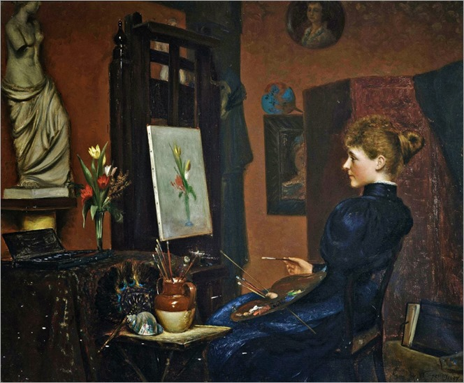 Clara Potts Sitting at an Easel Painting a Still Life of Flowers (1897). George Wimpenny (British, 1857-1939)