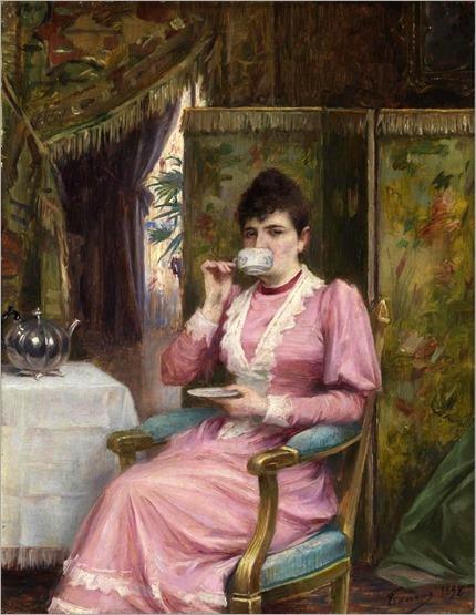 Dame Beim Teetrinken by Adrien Henri Tanoux (1892)
