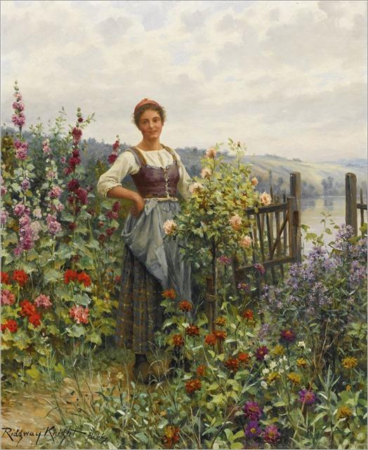 Daniel Ridgway Knight (1839-1924) Tending the flowers