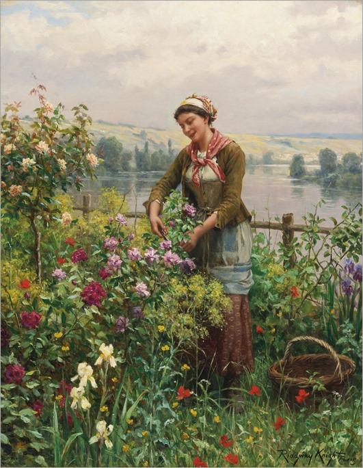 Daniel Ridgway Knight (american, 1839-1924)_in the garden