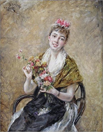 Édouard Léon GARRIDO 1856-1949 JEUNE FEMME AU BOUQUET DE FLEURS