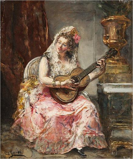 Eduardo Léon GARRIDO (1856-1949) Espagnole jouant de la guitare