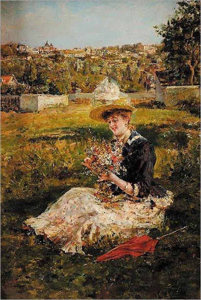 Eduardo Léon GARRIDO (1856-1949)Elégante à l'ombrelle