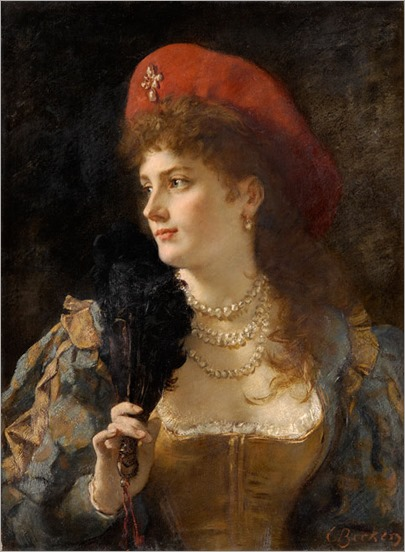 elegant lady with a fan_Carl Ludwig Friedrich Becker - Date unknown