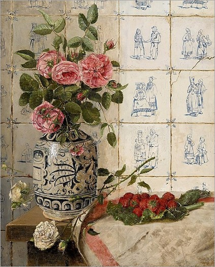 F. DE WIT (belgian 19th-20th century)- FLORAL STILL LIFE WITH TILED WALL