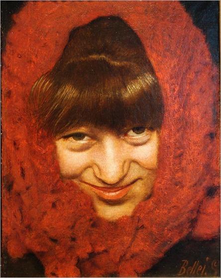Gaetano Bellei -Fanciulla con sciarpa Rossa