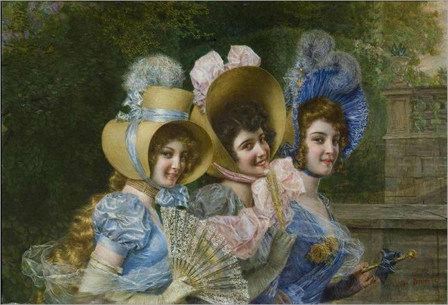Gaetano Bellei- tre fanciulle elegantemente vestite.