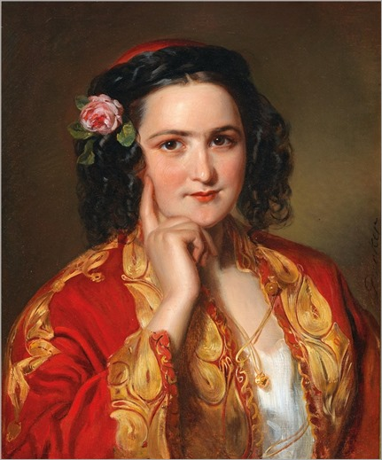 Georg Decker (1819-1894) Portrait of a Young Woman in Traditional Greck Costume