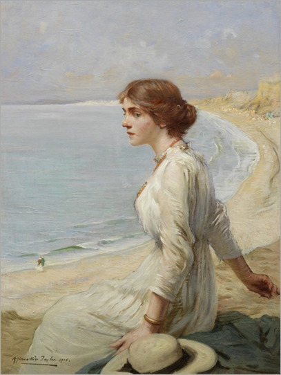 Girl Looking Out to Sea - Albert Chevallier Tayler-1918