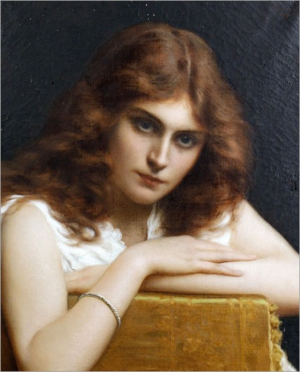 Girl with auburn hair. Tito Conti (Italian, 1842-1924)