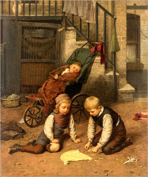 Harry Brooker (British, 1848-1940) Children Playing in the Courtyard