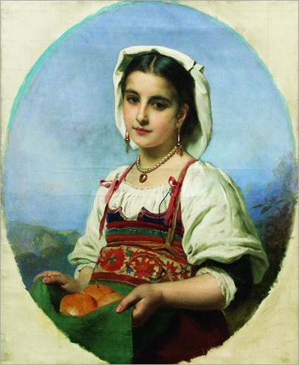 italian girl with oranges-Konstantin Yegorovich Makovsky