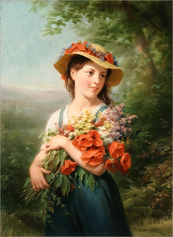 jeune fille au bouquet de fleurs des champs_Zuber-Buhler