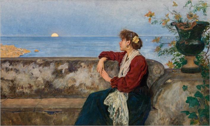 Johann Victor Krämer (1861-1949) Moonrise in Taormina