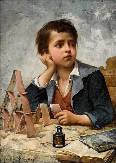 JULES SALLES-WAGNER (french 1814-1898)-LA MAISON DES CARTES