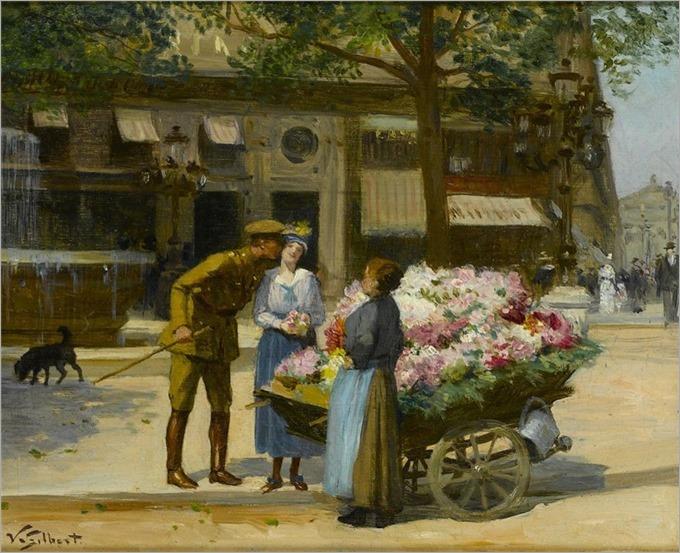 La Marchande de Fleur, Avenue de L'Opera_Victor Gabriel Gilbert
