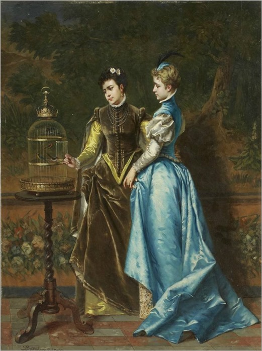 Ladislau Bakalowicz (Polen 1833-1903). Eleganta damer med fågelbur