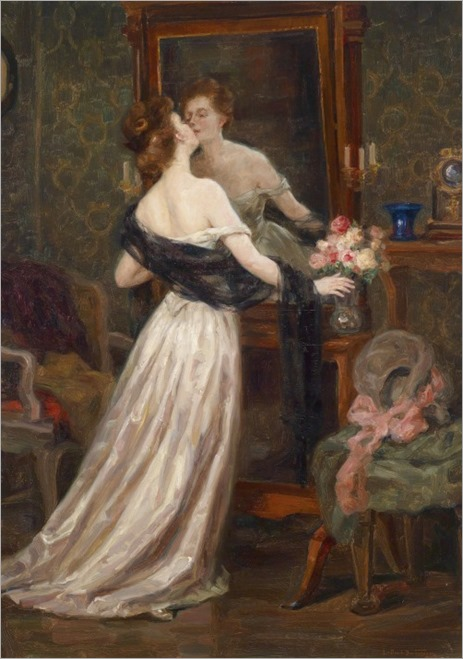 Lady in a Boudoir before a Mirror - Luma von Flesch-Brunningen (austrian painter)