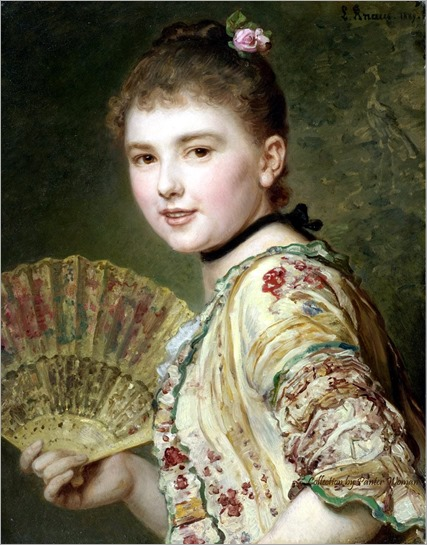 lady with a fan - Ludwig Knaus - 1889