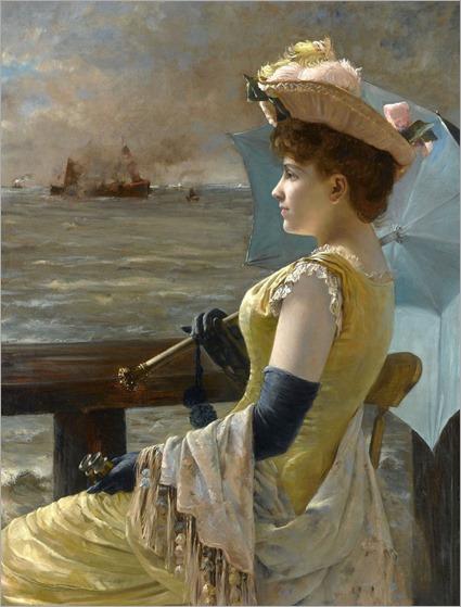 Looking at the Sea - Alfred Stevens (belgian painter)