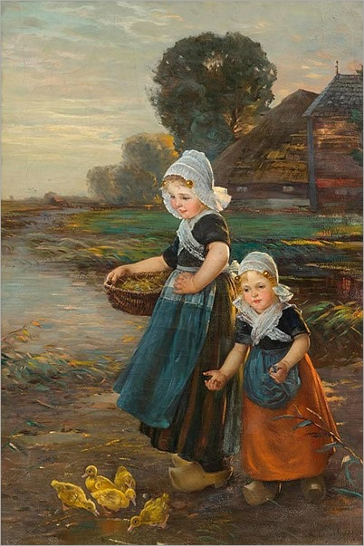 LOUYOT, EDMOND (1861 La Lobe 1936) Children feeding ducks