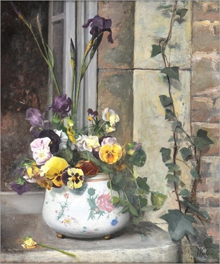 M. Weiss (French, 19th Century)-Still Life with a bowl of flowers in a china bowl, on a garden ledge