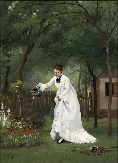 Madame Gilbert dans son jardin_Victor Gabriel Gilbert