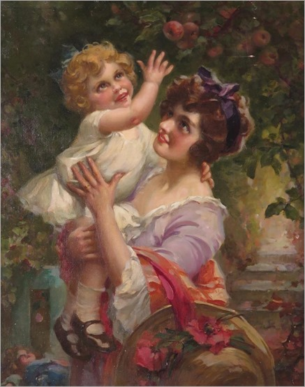 Maynard Browne (1840-1900) Mother and daughter in a garden