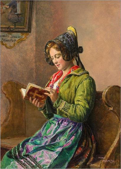 Mädchen mit Goldhaube und Gebetsbuch. Hans Hamza (Austrian, 1879-1945)