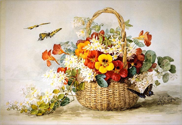Nasturtiums, Jasmine and Butterflies-by-Raoul-de-Longpre