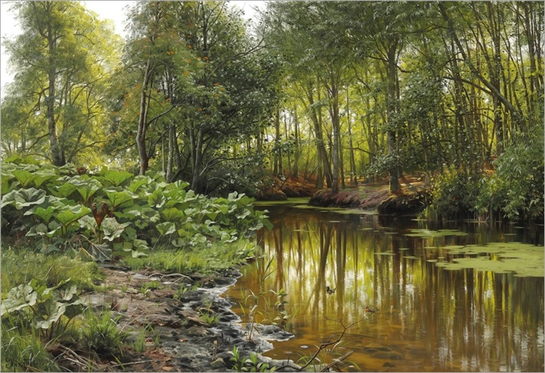 Peder Mork Monsted (1859-1941) View of Lellinge stream. 1905