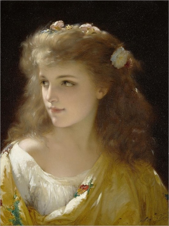Pierre Olivier Joseph Coomans A portrait of a young woman, 1880