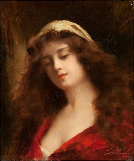 Portrait of a Girl. Angelo Asti (Italian-American, 1847-1903)