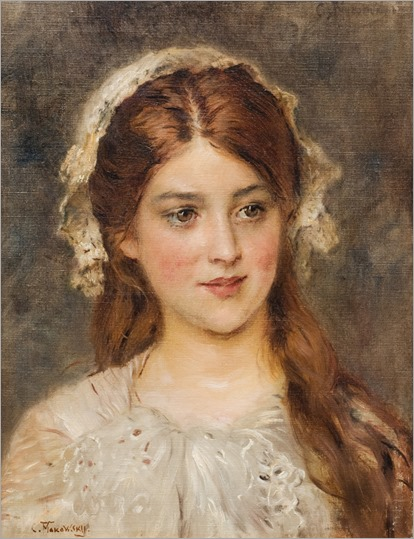 Portrait of a young girl. Russian, 1839-1915- Konstantin Makovsky