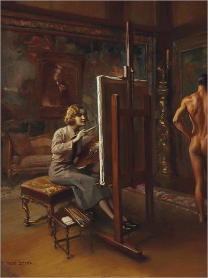 Portrait of Huguette Clark, full-length, at her easel. Tadeusz Styka (French, 1889-1954). Oil on masonite