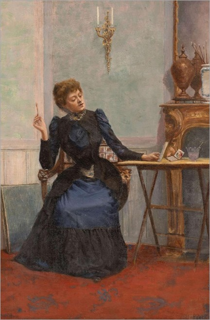 Prosper-Victor Peck (Paris, -d. 1900) -Jeune femme aquarelliste