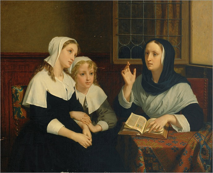 Reading the Bible (c.1859). Hugues Merle (French, 1823-1881)