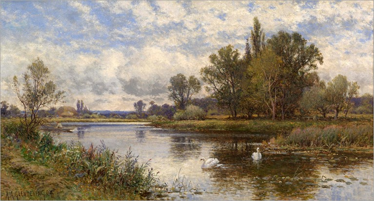 River Scene with Swans_Alfred Augustus Glendening